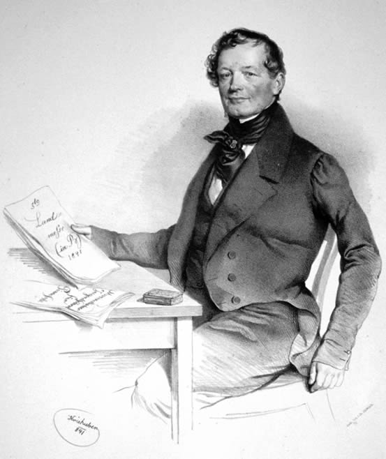 Portrait of Anton Diabelli, lithograph by Josef Kriehuber and photographed by Peter Geymayer, in 1841.