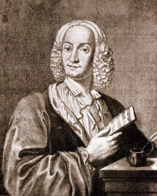 Engraved portrait of Antonio Vivaldi in 1725, by François Morellon de la Cave.