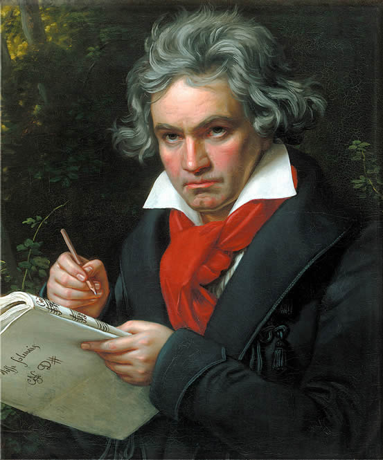 Portrait of Ludwig van Beethoven, painted by Joseph Karl Stieler in 1820, in the Beethoven-Haus, Bonn, Germany.