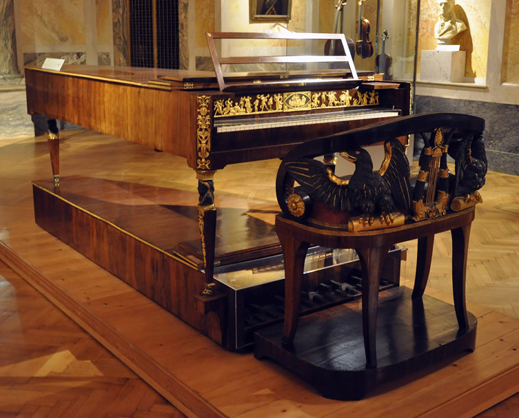 Brodmann pianoforte with bench, c. 1815, in the Kunsthistorisches Museum, Vienna, Austria.