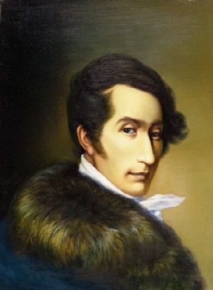 Portrait of Carl Maria von Weber, painted by Ferdinand Schimon in 1825, in the Carl Maria Weber House, Dresden, Germany.