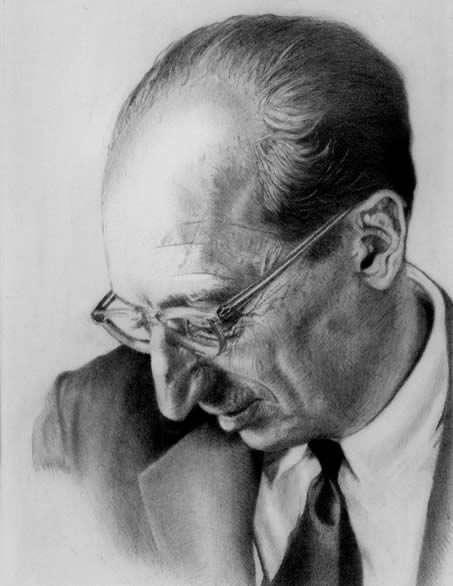 Portrait of Aaron Copland drawn by Richard Hurd in 2013 off of an old album cover.