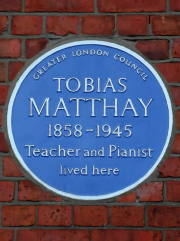 Tobias Matthay plaque, 'Tobias Matthay 1858-1945 Teacher and Pianist Lived Here,' in London, England.
