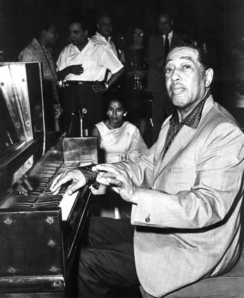 Duke Ellington and orchestra performing in India, 1963.