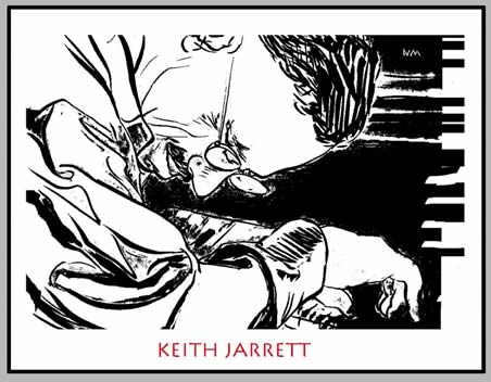 Brush & ink portrait of Keith Jarrett, drawn by N.C. Mallory in 2012.