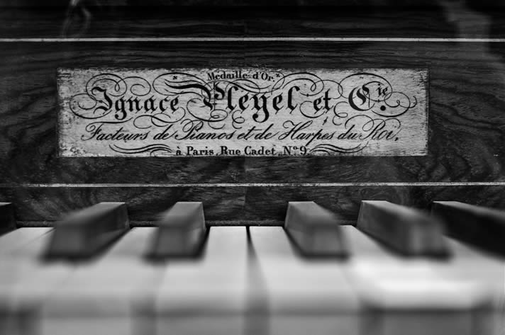 Pleyel piano with its nameboard plaque.