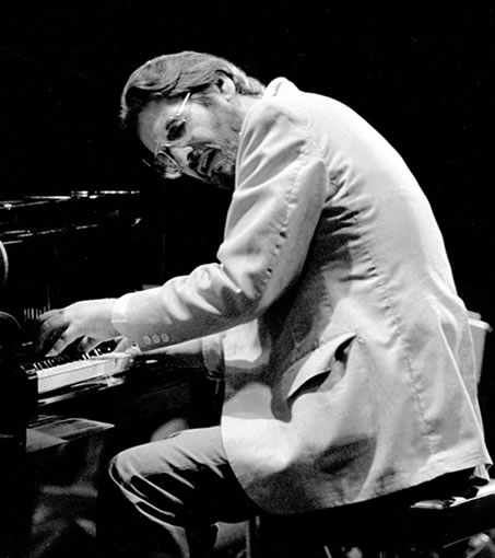 Bill Evans performing at the Montreaux Jazz Festival in Switzerland, 1978, photographed by Brian McMillen.