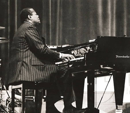 Oscar Peterson performing in Munich Germany, 1977, photographed by Hans Bernhard.
