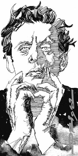 Pen & ink portrait of Philip Glass, drawn by Graziano Origa in 2008.