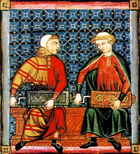 Illustration of a symphonia instrument depicted in Codex de El Escorial, 1221-1284.