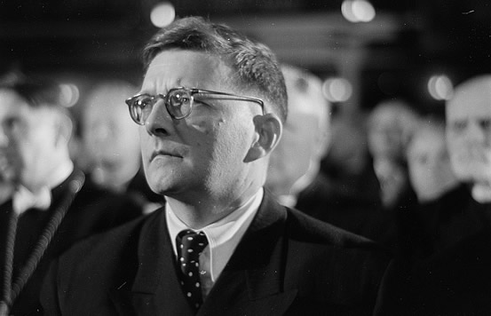 Dmitri Shostakovich at the Bach Celebration in 1950, photographed by Roger Rössing and Renate Rössing.