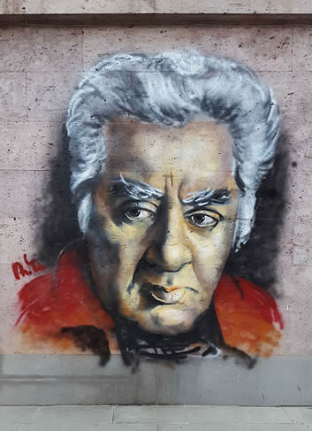 Mural of Aram Khachaturian in Yerevan, Armenia, photographed by Yerevantsi.