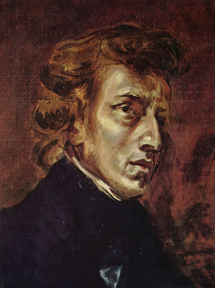 Frédéric Chopin, painted by Eugène Delacroix in 1838, in the Louvre Museum, Paris, France.