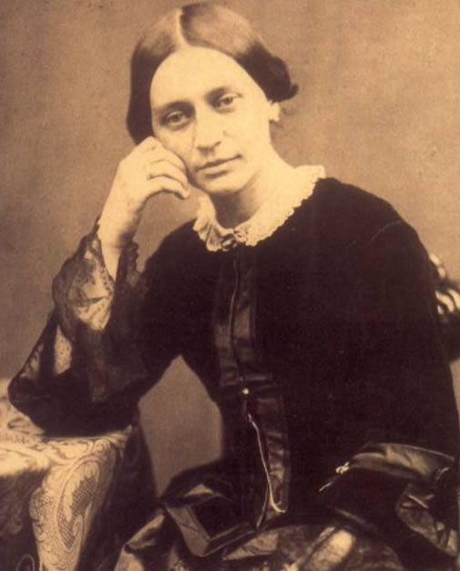 Portrait of Clara Schumann, photographed by Franz Hanfstaengl, in 1857.