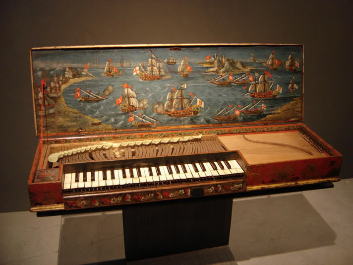 Clavichord instrument in the Musée de la Musique, Paris, France.