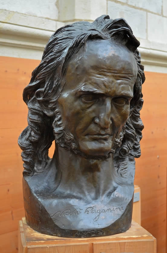 Bust of Niccolò Paganini by French sculptor David d'Angers, in the David d'Angers Gallery, Angers, France.