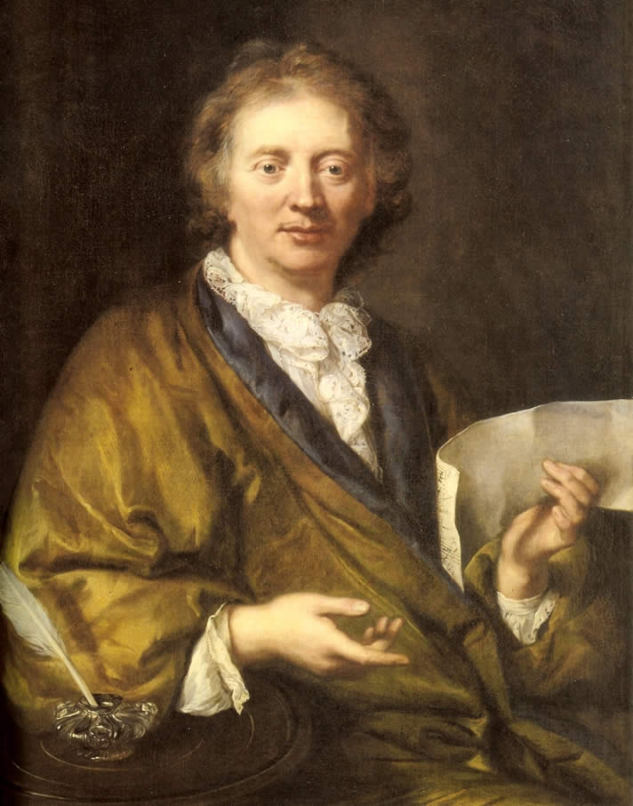 Portrait of François Couperin, early 18th century, in the Palace of Versailles, Versailles, France.