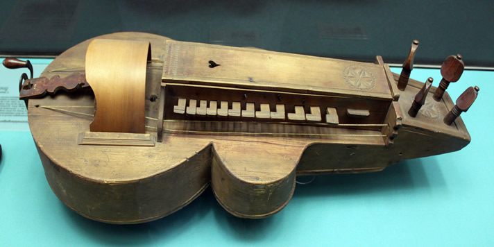 Hurdy Gurdy instrument from 1700, in the Germanic National Museum, Nuremberg.
