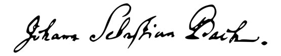 Tracing of Johann Sebastian Bach's signature.