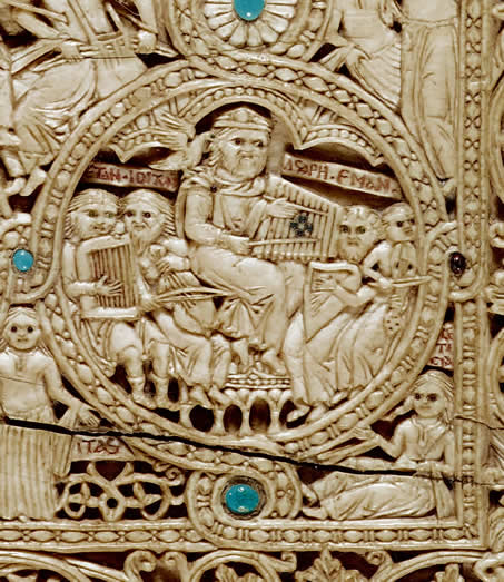 Carved image of dulcimer for Queen Melisende, c.1139.