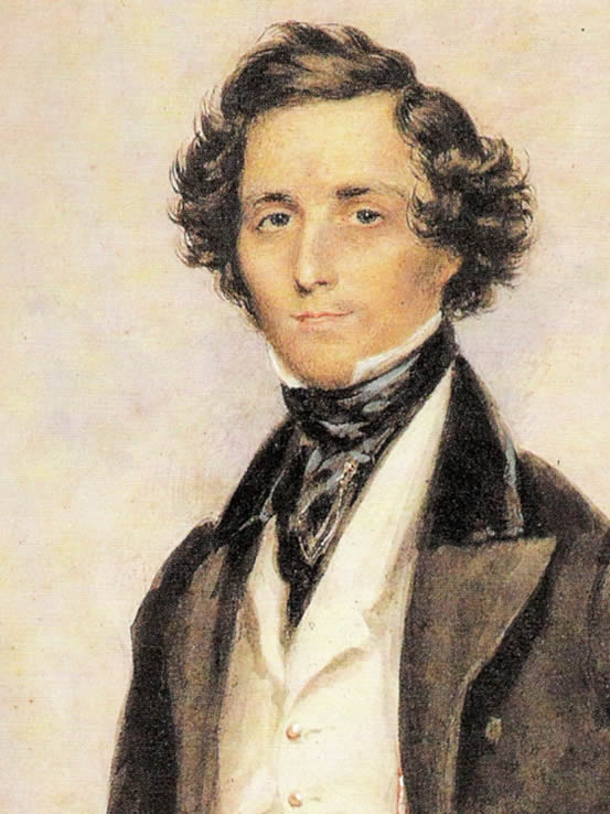 Portrait of Felix Mendelssohn, painted by James Warren Childe in 1829, in the Staatsbibliothek zu Berlin, Berlin, Germany.