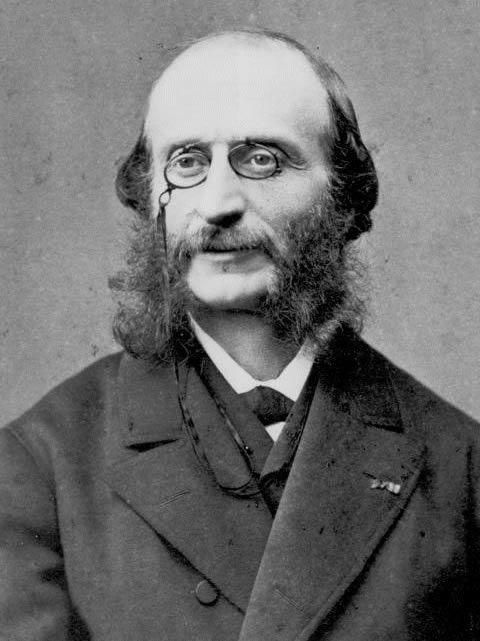 Portrait of Jaques Offenbach, photographed by Fritz Luckhardt, c. 1874, in the National Portrait Gallery, London, England.