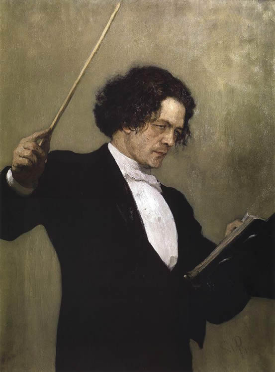 Portrait of Anton Rubinstein, painted by llya Repin in 1887, in the State Russian Museum, St. Petersburg, Russia.