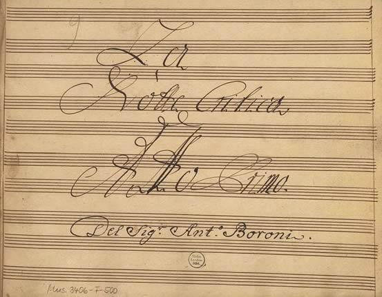 Image of sheet music, La Notte Critica, from composer Antonio Boroni.