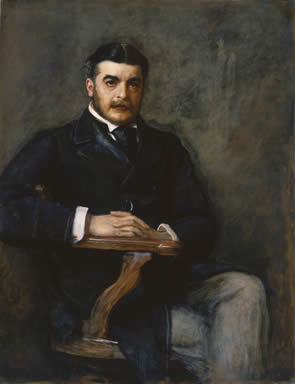 Portrait of Sir Arthur Seymour Sullivan, painted by John Everett Millais in 1888, in the National Portrait Gallery, London, England.