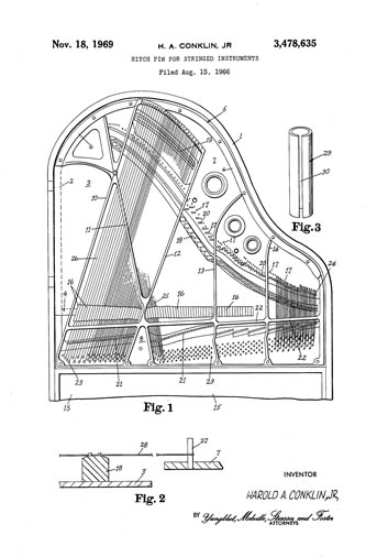 Schematic of Baldwin's patent for its hitch pin design.