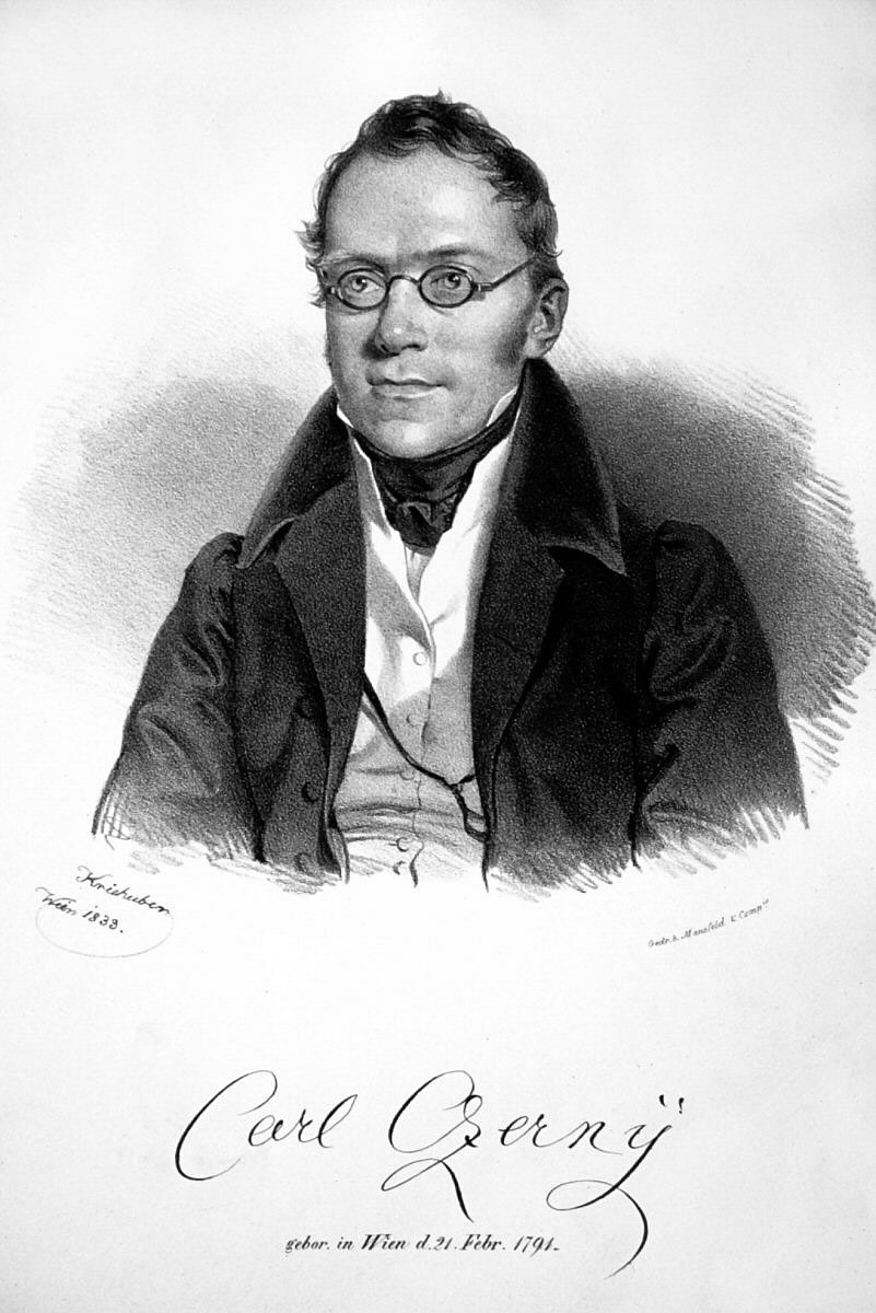 Portrait of Carl Czerny, lithograph by Josef Kriehuber and photographed by Peter Geymayer, in 1833.