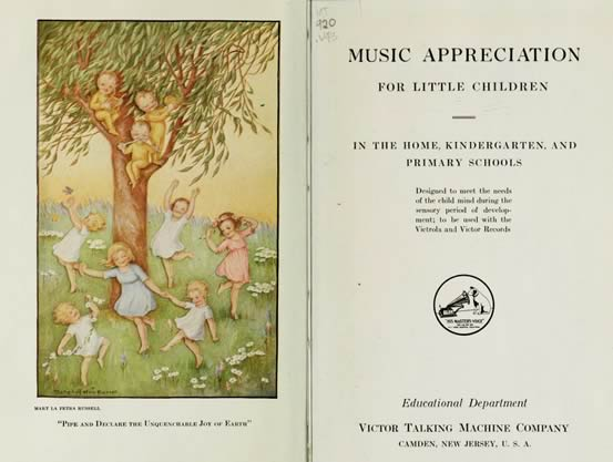 Frontispiece and title page from Francis Elliott Clark' book 'Music Appreciation for Little Children' from 1920.