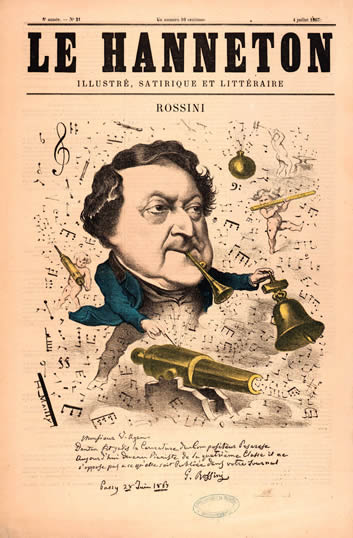 Caricature of Gioachino Rossini from the Le Hanneton Magazine, by H. Mailly in 1867.