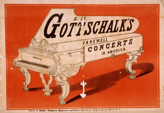 Poster of Louis Moreau Gottschalk's farewell concerts in America, created by Clarry & Reilley in 1860.
