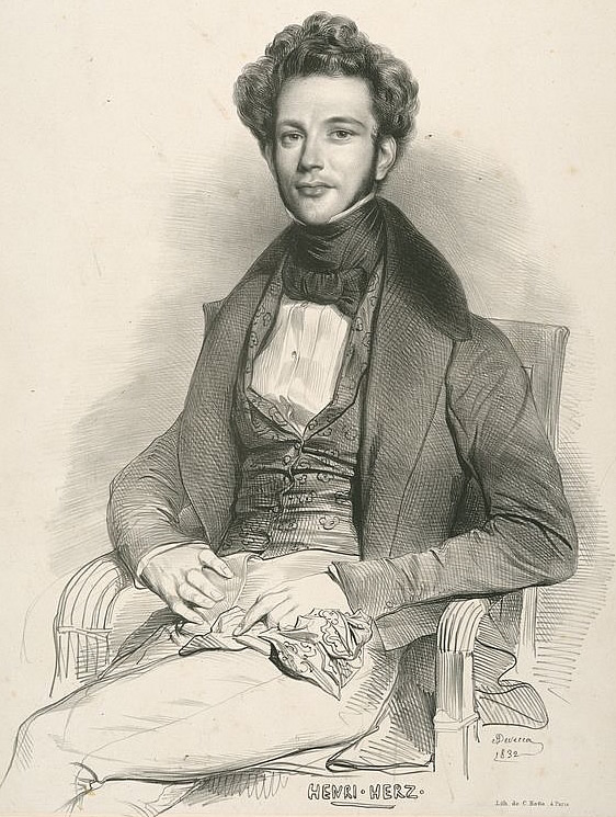 Portrait of Henri Herz by Achillle Devéria in 1832.