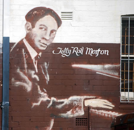 Photograph of a Jelly Roll Morton mural in Sydney, Australia.