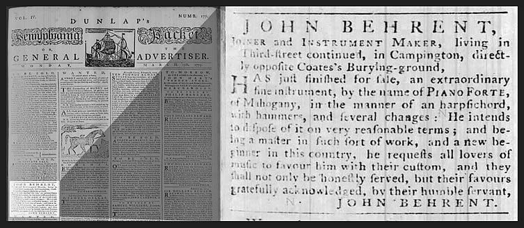 Advertisement for John Behrent's newly built pianoforte, 1775.