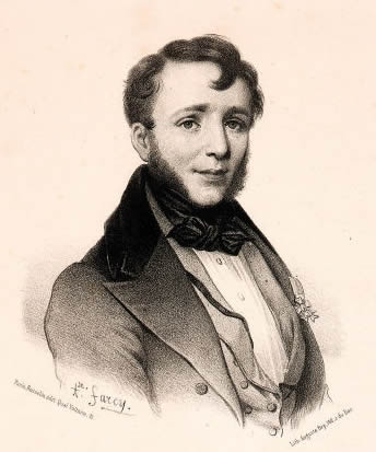 Portrait detail of Friedrich Kalkbrenner drawn by Auguste Bry, original drawing by Alphonse Farcy.