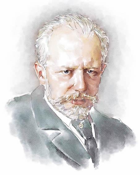 Digital watercolor of Pyotr Tchaikovsky from a fragment of Nikolai Dimitriyevich Kuznetsov' original painting in 1893.