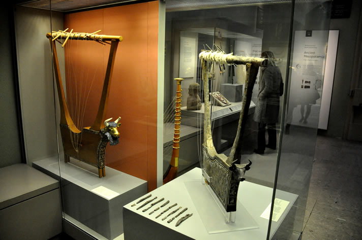 The queen's lyre and silver lyre from the Royal Cemetery at UR, Southern Mesopotamia, Iraq.