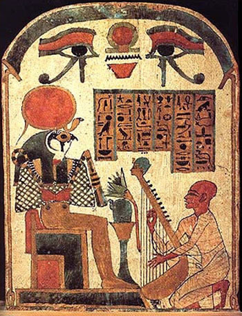 A painting of an early harpist before the common era.