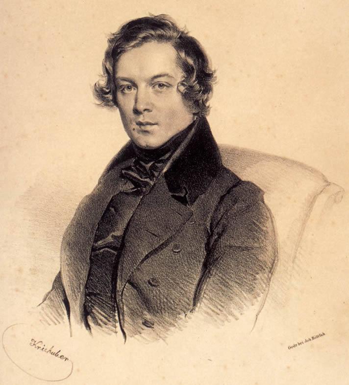 Lithograph portrait of Robert Schumann, by Josef Kriehuber in 1839, in the Gesellschaft der Musikfreunde in Wien, Vienna, Austria.