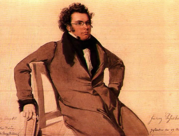 Portrait of Franz Schubert, painted by Wilhelm August Rieder in 1825, in the Schubert Geburtshaus, Vienna, Austria.