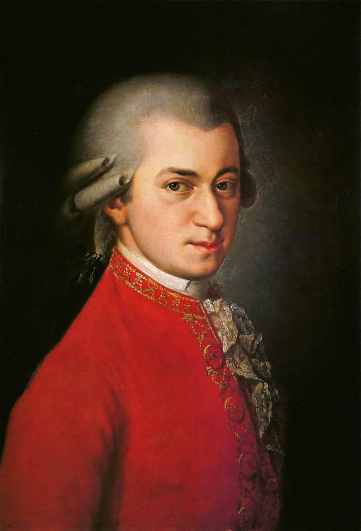 Portrait of Wolfgang Amadeus Mozart, painited by Barbara Kraft in 1819, in the Gesellschaft der Musikfreunde, Austria.